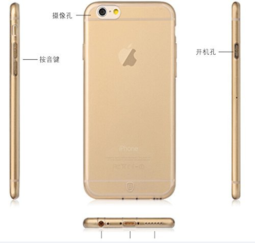 Vandot Accessories Set 0.2mm Ultra Slim Thin Gel Soft Clear Silicone Skin Mobile Phone Case for Smartphone Apple iPhone 6 Plus 5.5 inch Hard Case Back Cover Case Shell Protective Bumper Shell Silicone- Gold - Clear Transprante Crystal clear - Stylish Designer Cases Made from High Quality Soft TPU
