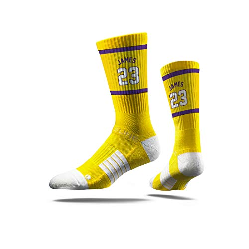 - Strideline NBA Los Angeles Lakers LeBron James, Yellow Jersey Premium Athletic Crew Socks, One Size