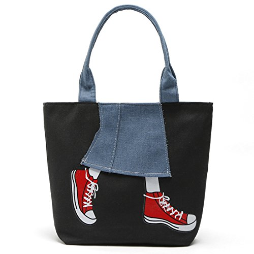 Shopping Women Bag Bag Canvas Black Bag Hobo Travel Bag Shoulder Large Tote Shoulder for Oversized BU7qw