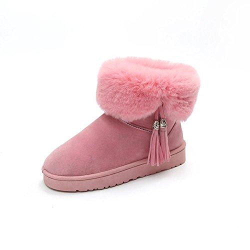 di AIURBAG Inverno Da da Punta Poliuretano Stivali pink Scarpe neve Stivali Stivaletti lanugine donna Stivaletti PU caviglia Fodera alla tonda 6x6FwqrX