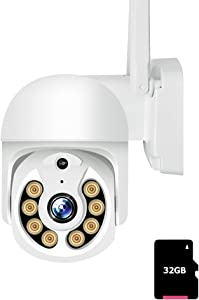 1080P Camera with Color Night Vision,PTZ Security Camera Outdoor WiFi IP Camera Home Security,355°Pan 90°Tilt Auto Tracking Motion Detection Two-Way Audio,Compatible Android/iOS Black with 32G Card