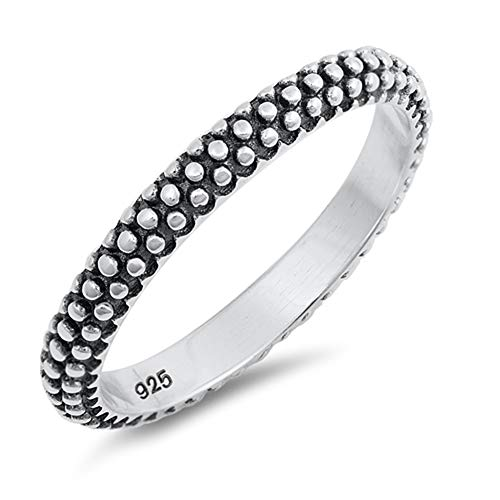 Eternity Bali Bead Stacking Oxidized Ring .925 Sterling Silver Band Size 7 ()