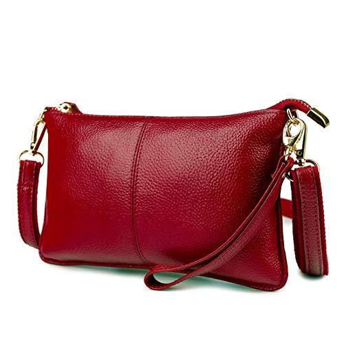 Artwell Women Genuine Leather Clutch Handbag Crossbody Shoulder/Wristlet Purse for Party Wedding Shopping (Wine red) (Berry Handbags For Women)