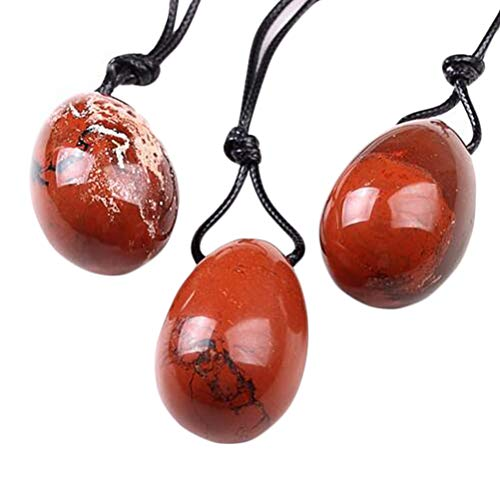 (fengshuisale 3020mm Drilled Natural Red Jasper Stone Crystal Pendant Polished Yoni Egg for Women Health Care W3495)