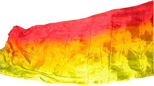 Rolled Edge Veil - Winged Sirenny Belly Dance Silk Veil, Light 5 Mommes Real Silk, 2.7m x 1.1m (3'x43), Hand Rolled Edges (red-orange-yellow)