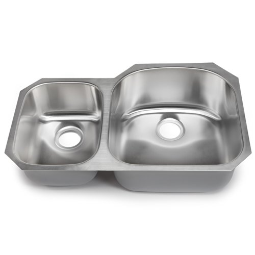 Double 30 Bowl Undermount - Hahn Chef Series SS010 32-Inch Undermount 30/70 Double Bowl