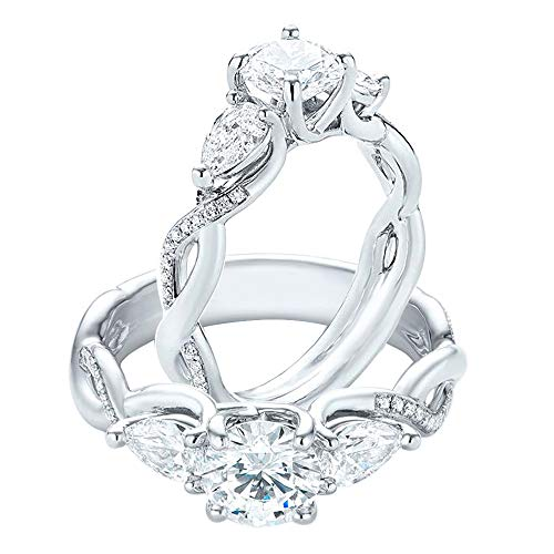 (3.50 Ct Round & Pear Cut Simulated Diamond Three Stone Engagement Ring Solid 10K White Gold 5.5)