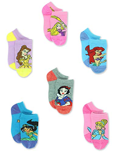 Disney Princess Girls Toddler 6 Pack No Show Socks Set (6-8 Girls (Shoe: 10-4), Multicolor No Show)