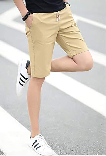 Hosen Normale Kurze Gerades Super Fête Leinen Atmungsaktiv Vêtements Zwei Kurzhosen De Extérieur Shorts Kampfhose Kaki Sommer Bein Mit Einfarbig Coupe 2 Herren 1 Mode Taschen Bwqg6f