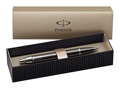 Parker S0856490 IM-Kugelschreiber (Metallisch-Grau mit Chromeinfassung, Strichstärke Mittel) schreibfarbe blau