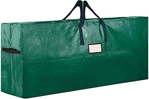 Christmas Tree Storage Bag Extra Large up to 9 ft Disassembled Artificial Xmas Tree is Durable Water Resistant Protection from Dirt Dust Bugs, etc. +Bonus Side Handles (Extra Large, Dark Green)