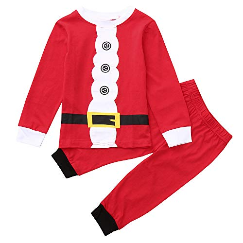 Sikye Christmas Costume Toddler Kids Boys Button Print Top T-Shirt and Pant Set Santa Claus Outfit (Red, 6-7Years) -