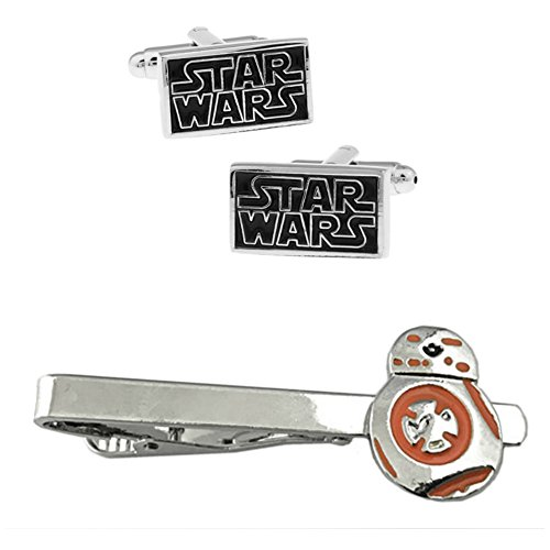 Outlander Star Wars Text Cufflink & BB-8 Tiebar - New 2018 Star Wars Movies - Set of 2 Wedding Logo w/Gift Box by Outlander