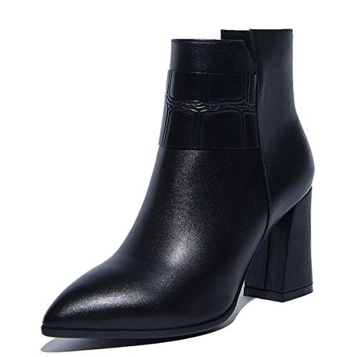 Black Talons Block Chunky Ladies Zipper Heel à Chaussures 0wRfqnPqx