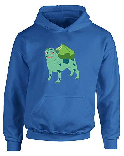 Bulba-pug, Kids Printed Hoodie - Royal Blue/Transfer 9-11 Years (Jessie From Team Rocket)