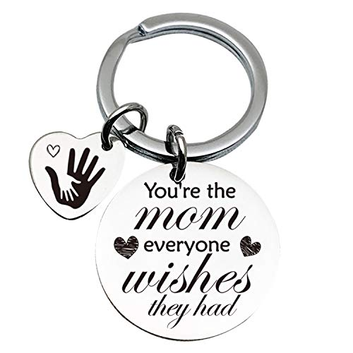 Mother Love Quotes Stainless Steel Key Chain Ring - Mother's Day Keychain - Best Mom Birthday Gifts from Son Daughter Husband - You're The Mom Everyone Wishes They had