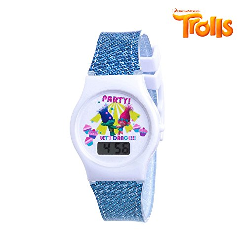 Trolls Girls LCD Digital Fashion Watch with Stickers & Trolls Patch Let's Party