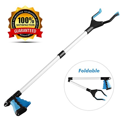 "Grabber Reacher Tool, Reacher Grabber, Grabber Tool for Elderly, 32"" Foldable Litter Picker, Garden Grabber, Arm Extension, Lightweight Mobility Aid, Extender Gripper Tool (Blue)"