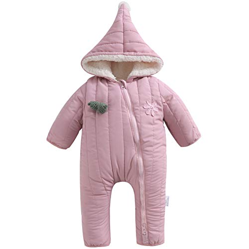 Y·J Back home Baby Snowsuit Girls Boys Fleece Lined Romper Puffer Jumpsuit Winter Outerwear Hood Toddler Warm Outfit,12-18 Months,Pink -