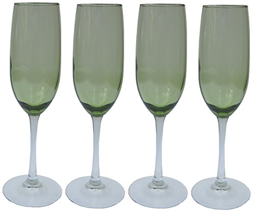 (Olive Green, Clear Stem, Two-Tone Champagne Fluted Glasses - Set of)