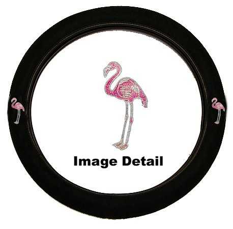 Pink Flamingo Birds Gem Crystal Studded Rhinestone Bling Car Truck SUV Steering Wheel Cover (Studded Steering Wheel compare prices)