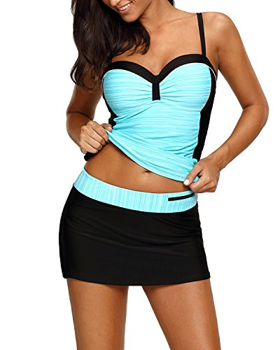 EVALESS Women's V Neck Bandeau Swing Style Tankini Top and Skort Bottom Bathing Suit Medium Green Medium Bathing Suit Bottoms