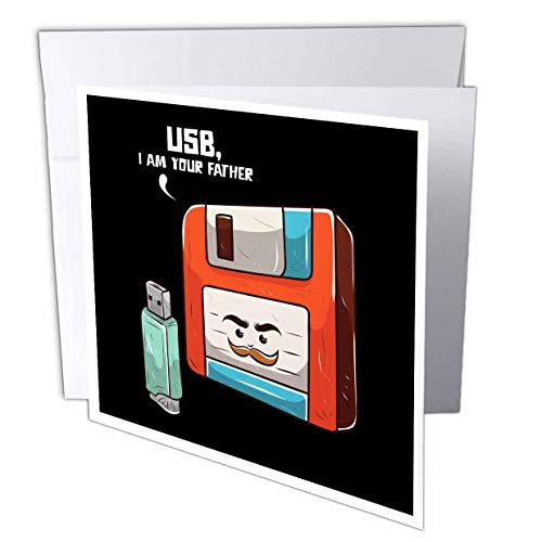 3dRose Sven Herkenrath Nerd - Retro Graphic with USB Stick and Floppy Disk Vintage Nerd - 6 Greeting Cards with envelopes (gc_308581_1)