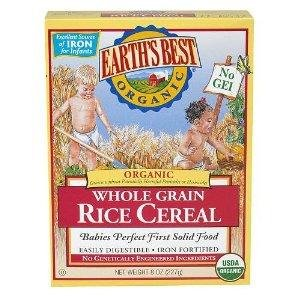 Earth's Best Cereal, Whole Grain Rice OG2 8 oz. (Pack of 12)