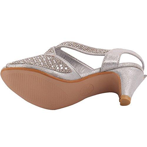 Unze Neue Mädchen Kohinor Kristalldiamant betonte spitzen Zehe-Kätzchen-Ferse-Abend, Hochzeits-Sandelholz-Fersen-Schuh-Größe 1-13 - 3218-B-5