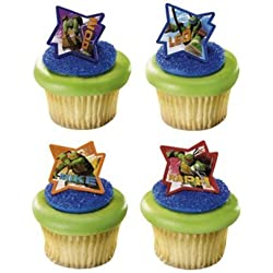 24 Teenage Ninja Turtles Cupcake Ring Toppers - Birthday Party Favors
