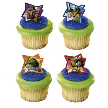 24 Teenage Ninja Turtles Cupcake Ring Toppers  Birthday Party Favors