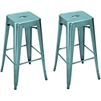 Patio Industrial Bar/Counter Stools 30 inches---- Homebeez Best Selling Metal Tolix Style Chair/ Stools Set of two (Glossy Blue Light)