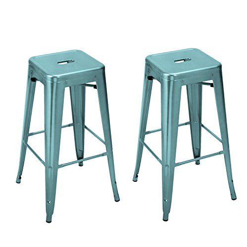 Adeco Tolix Style Industrial Chair Backless Vintage Metal Stackable High Counter Barstools – Glossy Blue Metal – Height 30 Inches – Set of 2
