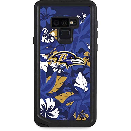 Skinit NFL Baltimore Ravens Galaxy Note 9 Waterproof Case - Baltimore Ravens Tropical Print Design - Sweat-Proof, Snow-Proof, Dirt-Proof, Dust-Proof Phone Cover
