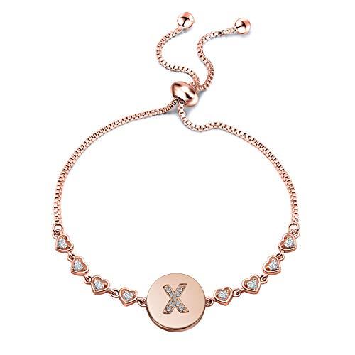 WUSUANED Rose Gold Initial Bracelet Letter Bracelet Adjustable Chain Bracelet Personalized Jewelry for Women Girls (Rose Gold-X)