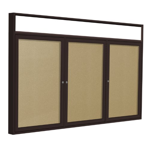 Headliner Cork Bulletin Board - Ghent 4 x 6 Inches Outdoor Bronze Frame with Illuminated Headliner Enclosed Vinyl Bulletin Board, Caramel , Made in the USA