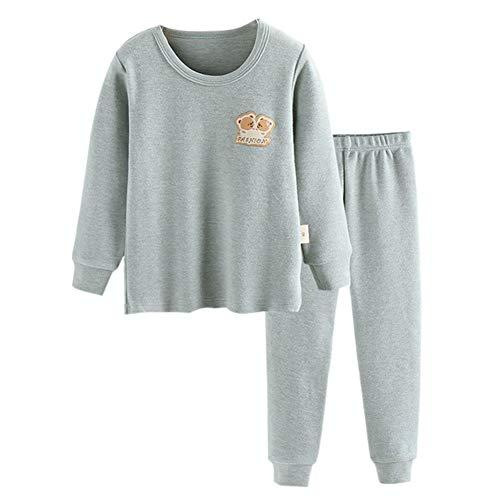 JWWN Little Boys Girls Pajamas 2PCS Thermal Underwear Set Kids Cotton Sleepwear Toddler Warm Base Layer,(Green,4T)