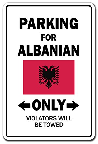 SignMission Parking for Albanian Only National Pride Sign | Indoor/Outdoor | Funny Home Décor for Garages, Living Rooms, Bedroom, Offices Albania Flag National Pride Love Gift Sign Decoration For Sale