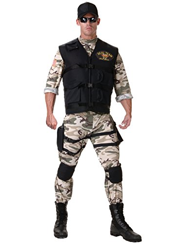 [Seal Team Military Costume 5 Piece Set Mens Armed Forces Theater Costumes Sizes: One Size] (Group Of 5 Halloween Costume Ideas)