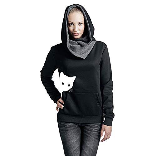 Mujer Tumblr Para Estampado Negro Largas youth Gato De Elegantes Capucha Invierno Chicas Sudaderas K Blusas Adolescentes Con OwEIzEq