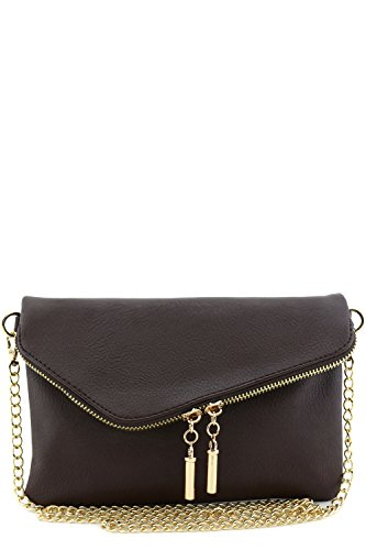 Envelope Wristlet Clutch Crossbody Bag with Chain Strap Brown Brown Leather Strap Jewelry