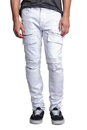 Men's Faded Zipper Cut Cargo Pocket Layered Knee Ribbed Shin Biker Jeans DL1058 - White - 36/33 - CC6H