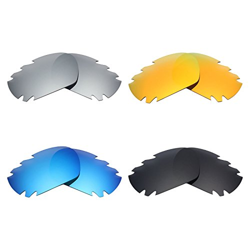 Mryok 4 Pair Polarized Replacement Lenses for Oakley Jawbone Vented Sunglass - Stealth Black/Fire Red/Ice Blue/Silver - Jawbone Oakley Black