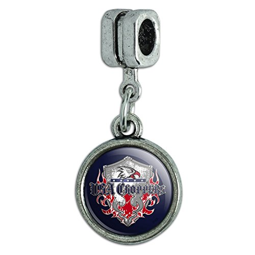 Graphics and More USA Choppers Shield Flames Eagle American Motorcycle Biker Italian European Style Bracelet Charm Bead Eagle Italian Charm Bracelet