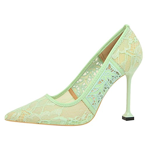 Sexy Heel Stiletto Lace Light Elegant Shoes Green High Carolbar Women's Evening Yq7XSwS5