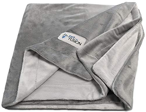 PetFusion Premium Large Dog Blanket (53x41). Reversible Gray Micro Plush. [100% soft polyester]