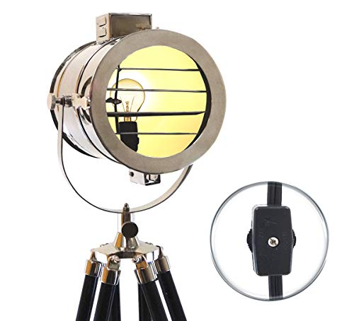 Vintage Nautical Spotlight Modern Electric Studio Searchlight with Adjustable Wooden Tripod, Chrome, 60