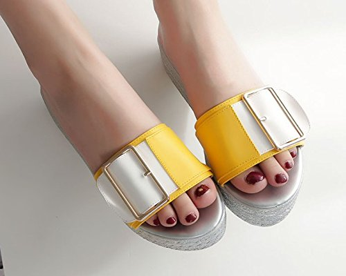 de elegante cinturón pendiente 5cm zapatillas Moda ranurado Amarillo Transpirable AJUNR 35 con 35 clip Sandalias qvzBWw5