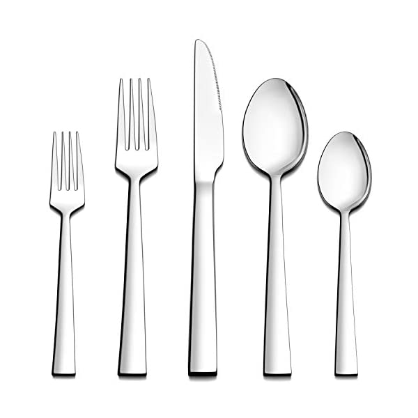 LIANYU 40-Piece Silverware Set, Stainless Steel Square Flatware Cutlery Set for 8, Eating Utensils Tableware Include… 1