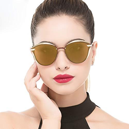 Fashion Polarized Sunglasses for Women Cat Eye Style Mirrored UV400 Protection (tea)
